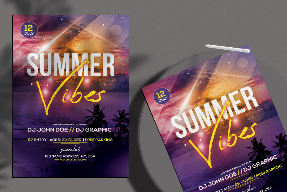 Summer Vibes PSD Flyer Free Template