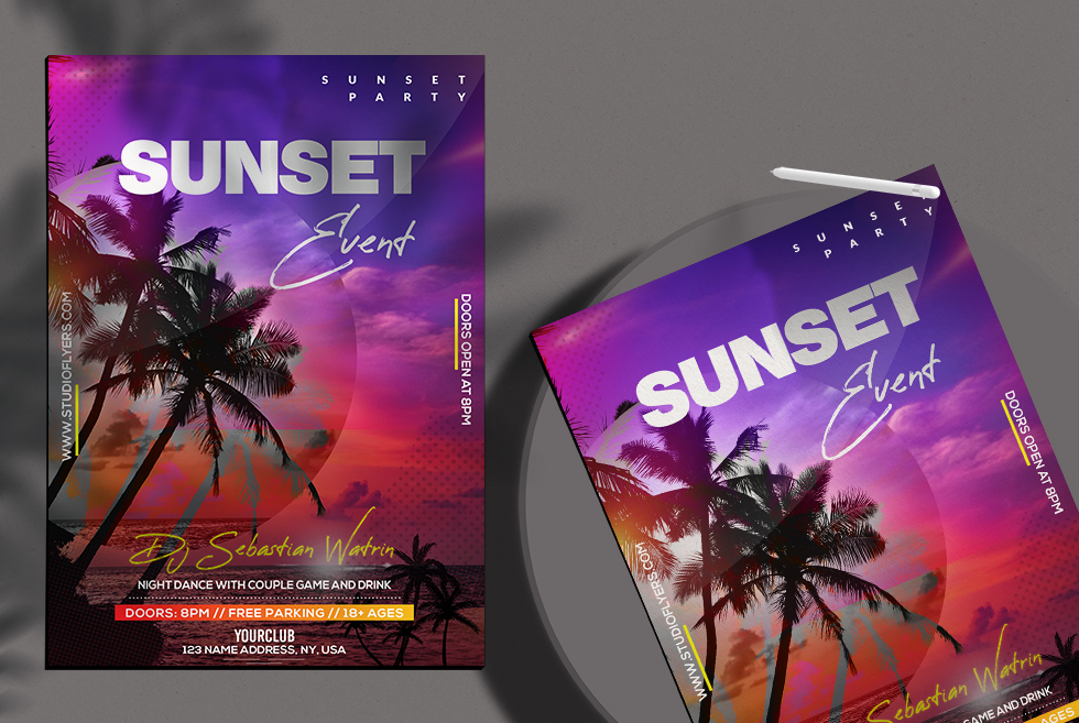 Sunset Event Free PSD Flyer Template