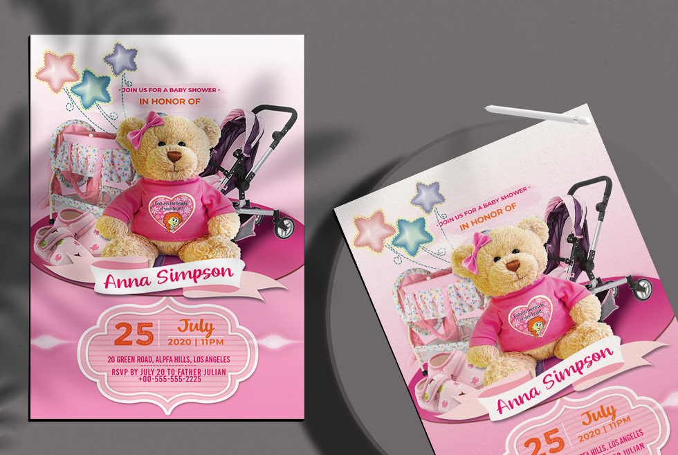Baby Girl Shower Invitation Free Flyer Template