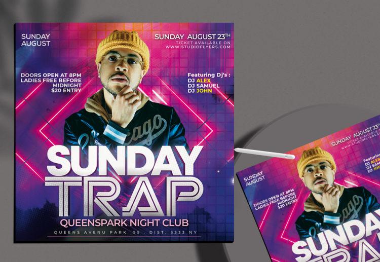 Dj Sunday Club Free PSD Flyer Template
