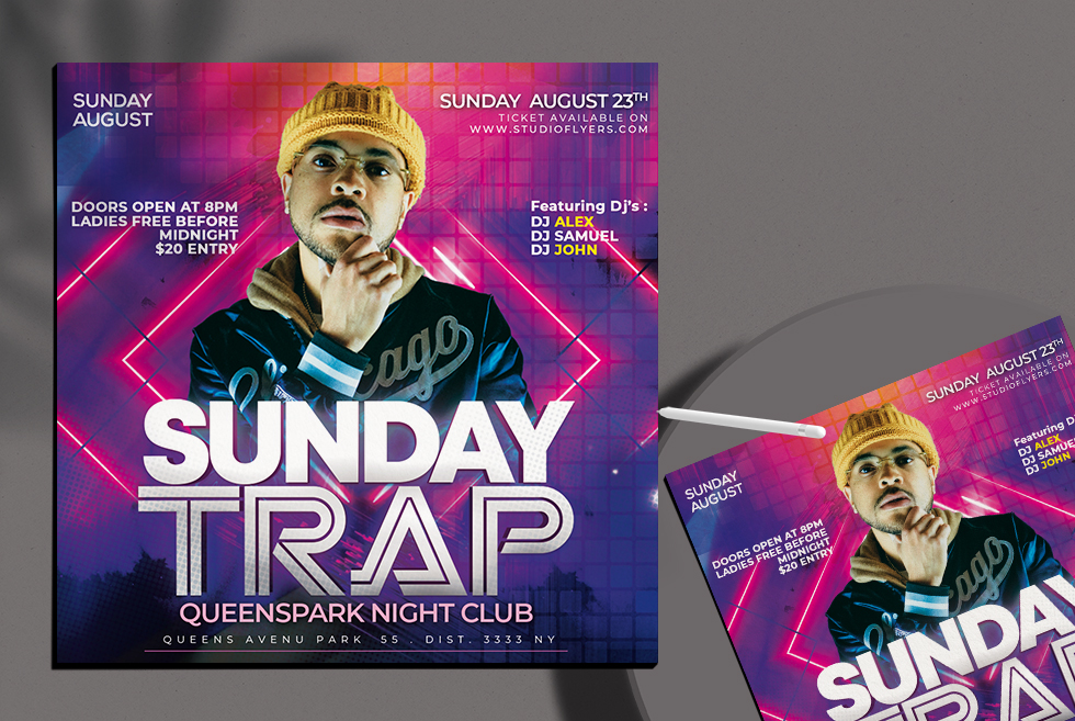 Dj Sunday Club Free PSD Flyer Template