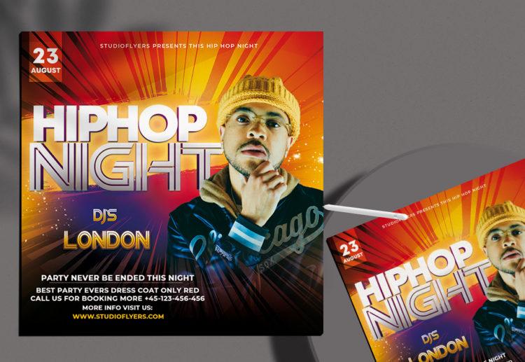 Hip Hop Night Flyer Free PSD Template