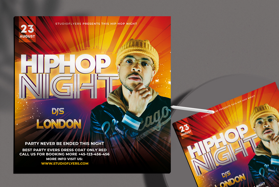 Hip Hop Night Flyer Free PSD Template