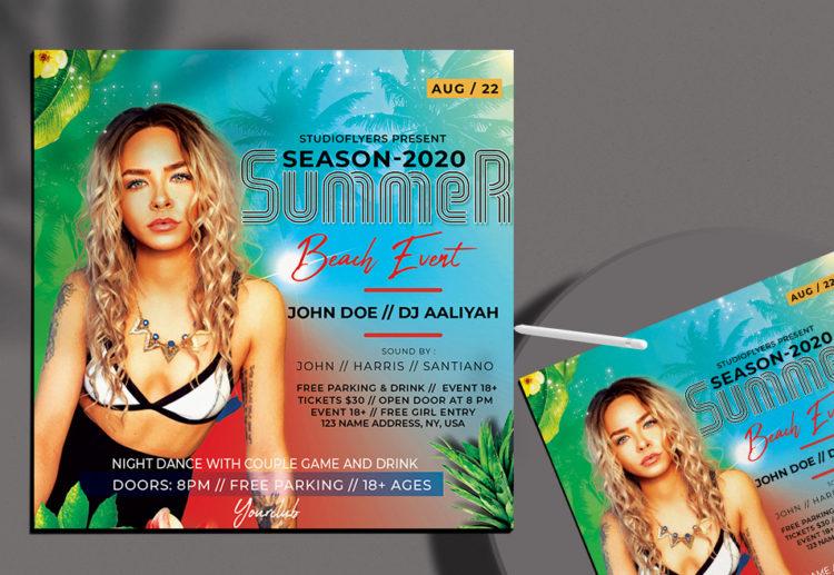 Summer Beach Event Free Flyer PSD Template
