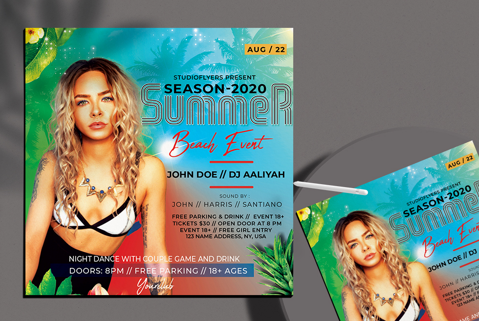 Summer Beach Event Free Flyer PSD Template