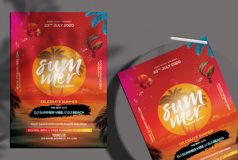 Summer Beach - Free Flyer PSD Template