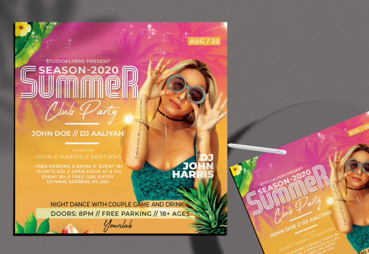 Summer Club Party Free Flyer PSD Template