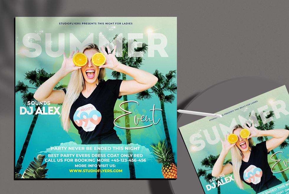 Summer Event Freebie Flyer PSD Template