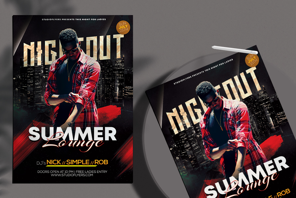 Summer Lounge Nightout Flyer Free PSD Template