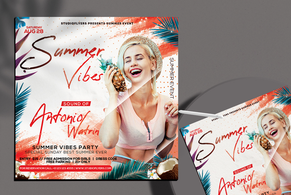 Summer Vibes Flyer Free PSD Template