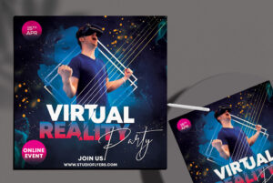 Virtual Party Free PSD Flyer Template