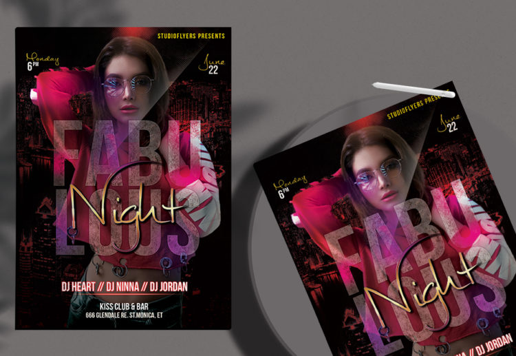Fabulous Night Free PSD Flyer Template