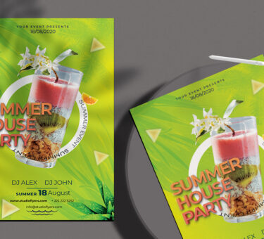 Free Summer House Party PSD Flyer Template