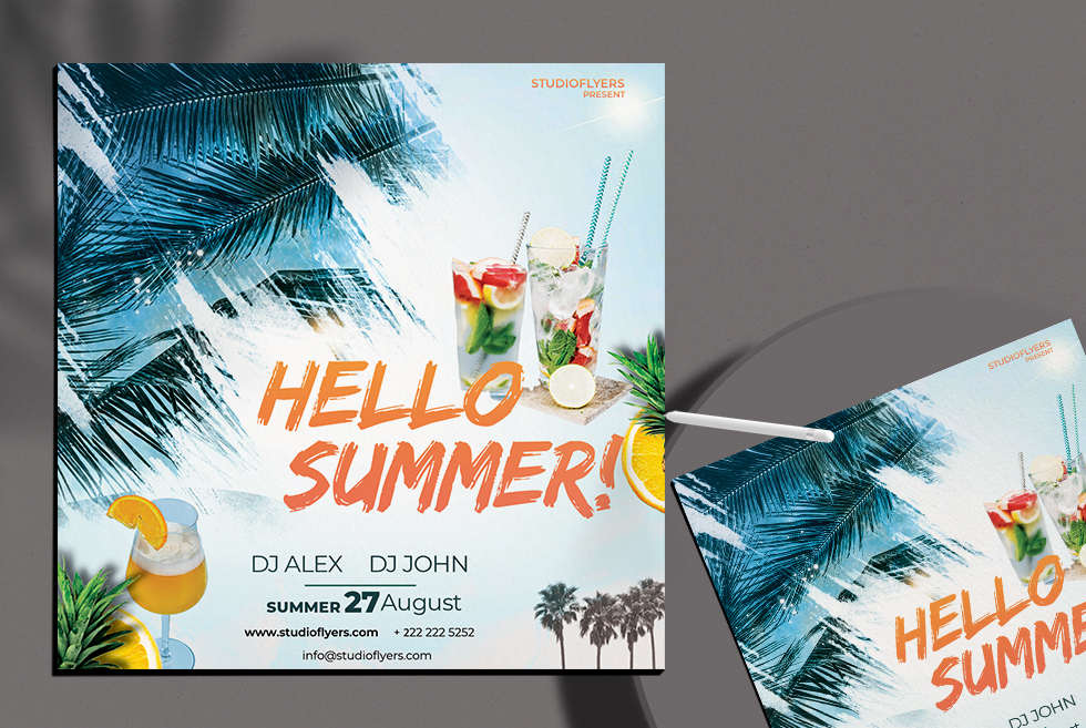 Hello Summer Free PSD Flyer Template