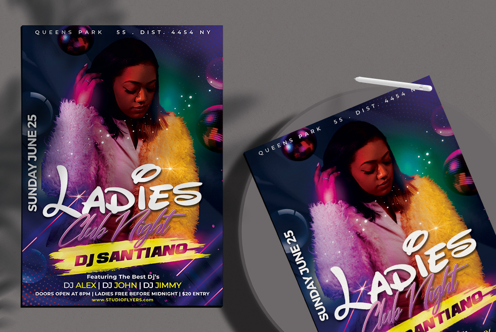 Night Party Club Flyer Free PSD Template