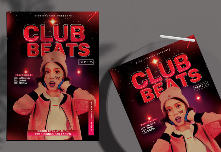 Club Beats Free PSD Flyer Template
