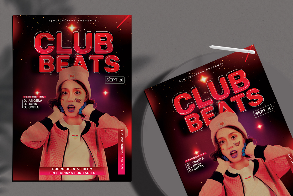Club Beats Free PSD Flyer Template