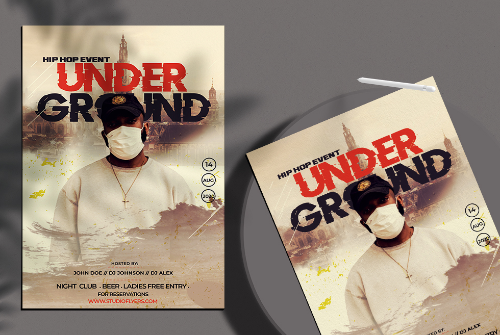 Free Hip Hop Under Ground Flyer PSD Template