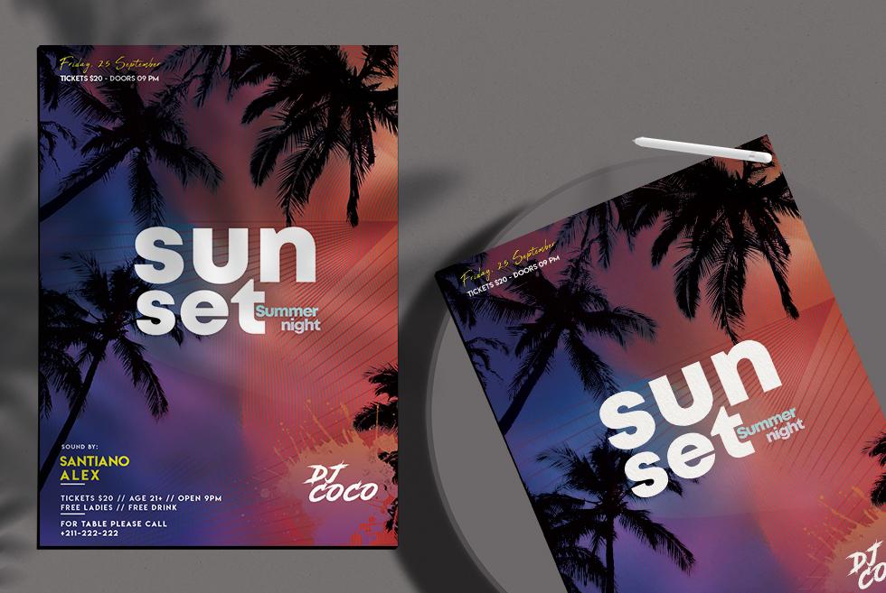 Free Sunset Summer Night PSD Flyer Template