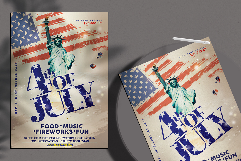 4th of July Day Flyer Free PSD Template