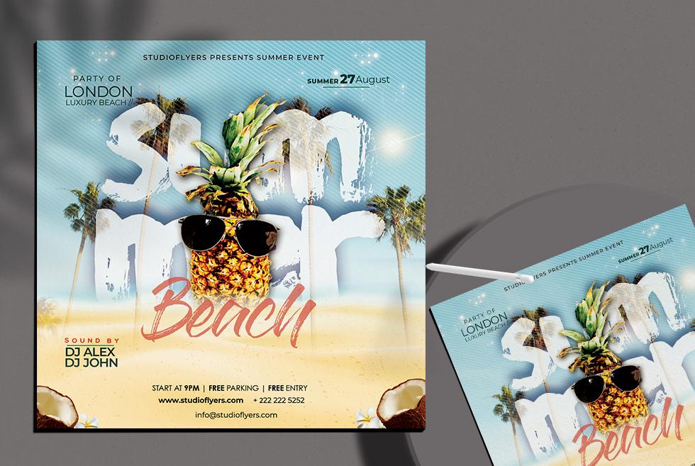 Summer Beach Party Free Flyer PSD Template