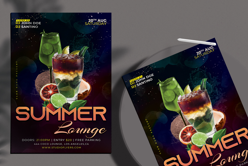 Summer Lounge Flyer Free PSD Template