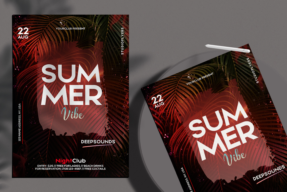Summer Vibe Flyer Free PSD Template