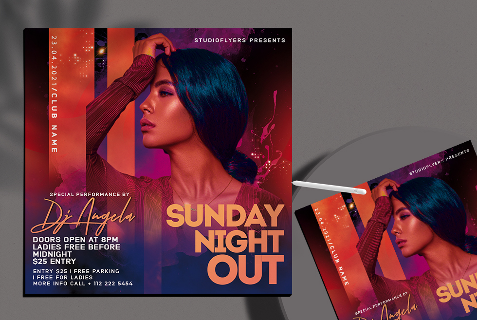 Sunday Night Out Flyer Free PSD Template