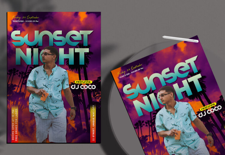 Sunset Night Flyer Free PSD Template