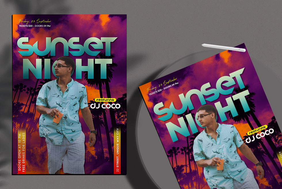 Sunset Night Flyer Free PSD Template