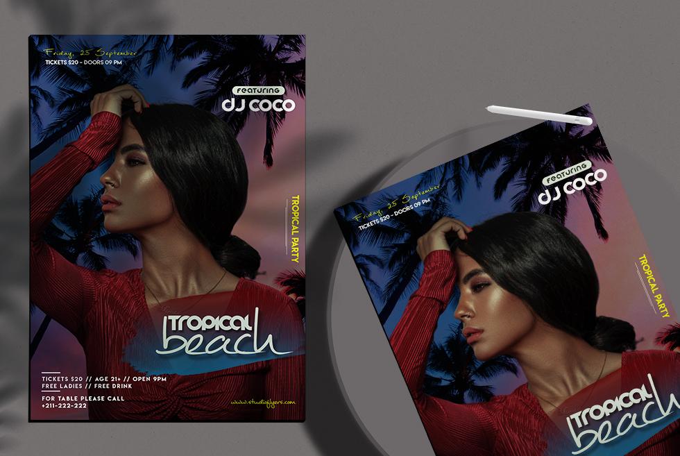 Tropical beach Flyer Free PSD Template