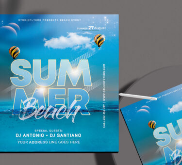 Beach Time Flyer Free PSD Template