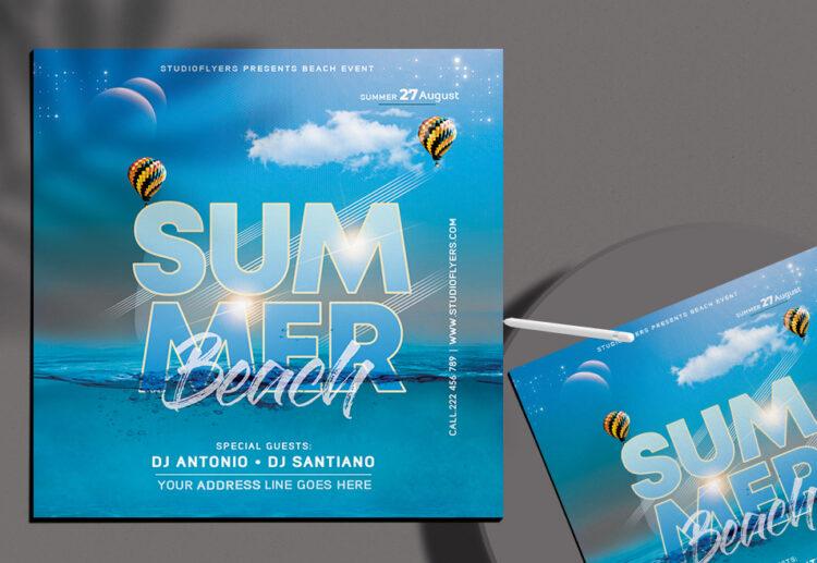 Beach Time Flyer Free PSD Template