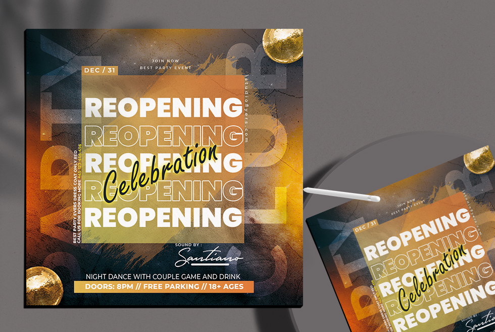Reopening Night Free PSD Flyer Template