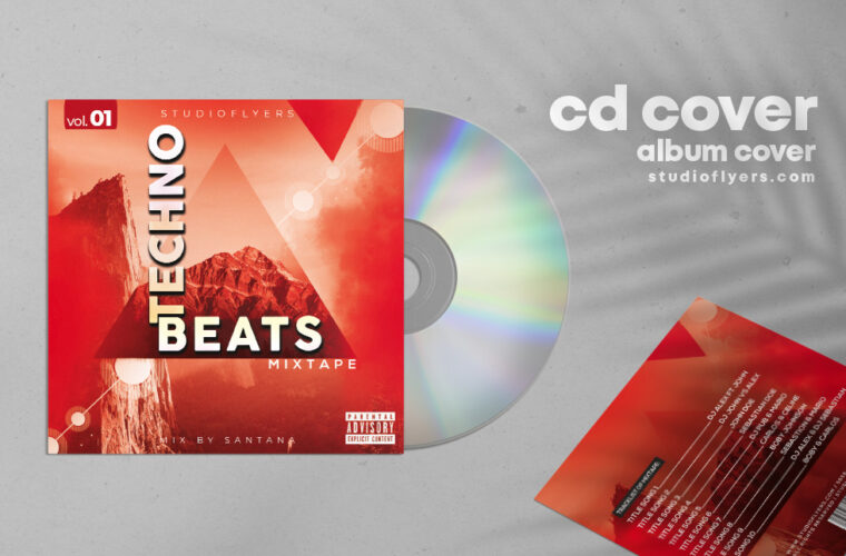 Techno Cd Cover PSD Template