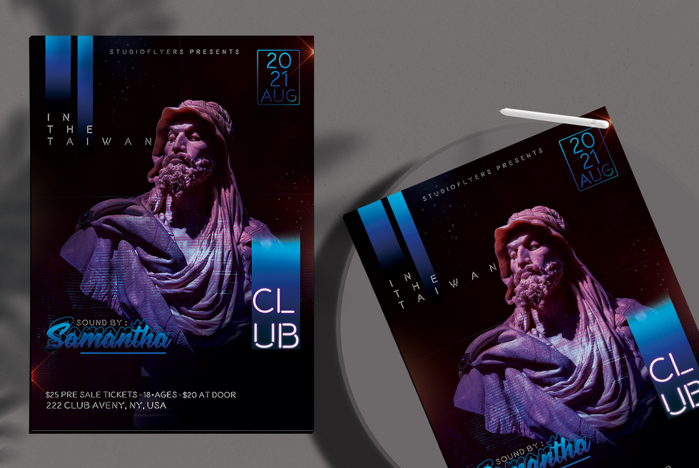 Samantha Club Free PSD Flyer Template