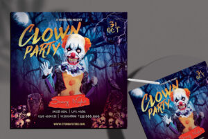 Clown Party Flyer Free PSD Template