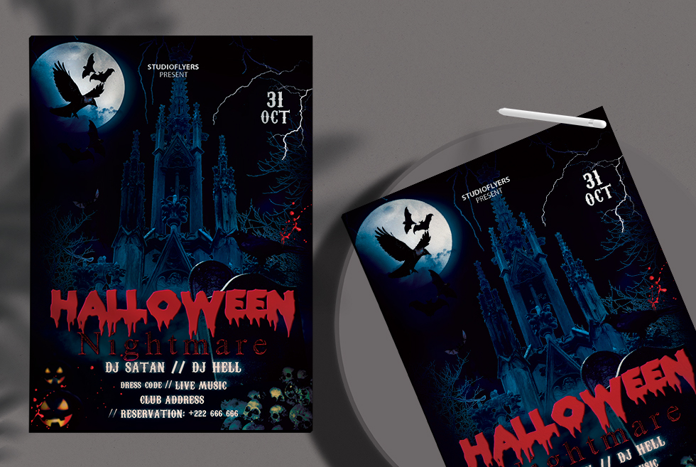Halloween Nightmare Flyer Free PSD Template