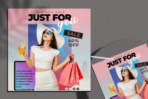 Summer Sale Social Media Flyer PSD Template