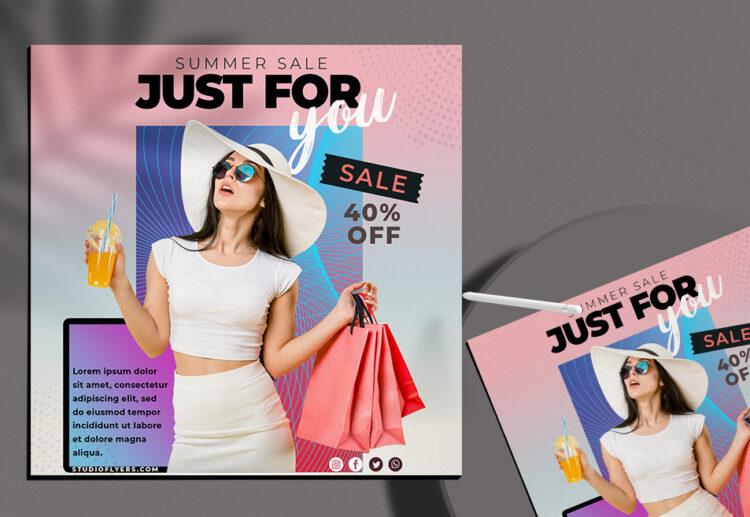 Summer Sale Social Media Flyer PSD Template