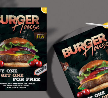Burger House Flyer Free PSD Template