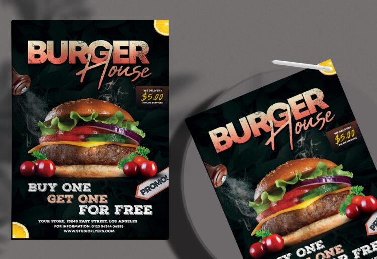 Burger House Flyer Free PSD Template