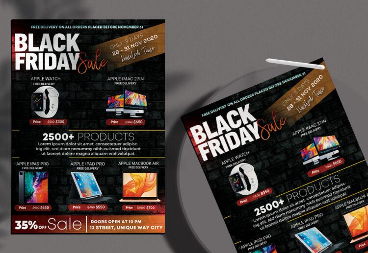 Mega Sale Black Friday Free PSD Flyer Template