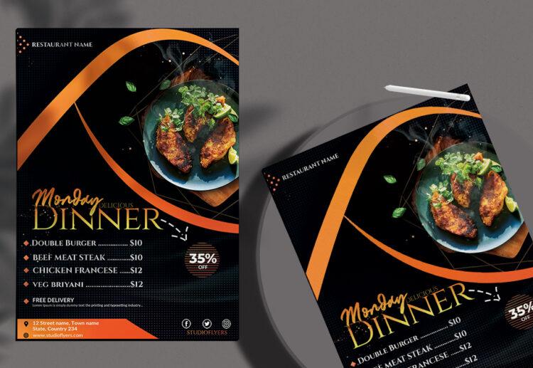 Monday Dinner Free PSD Flyer Template
