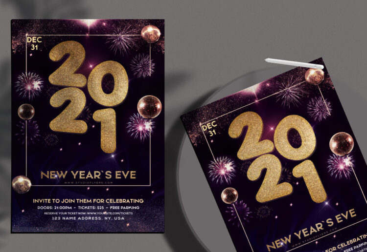 Happy 2021 New Year Eve Free PSD Flyer Template