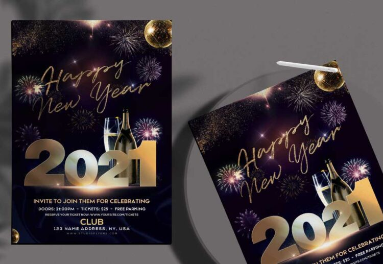 Happy New Year 2021 Free PSD Flyer Template