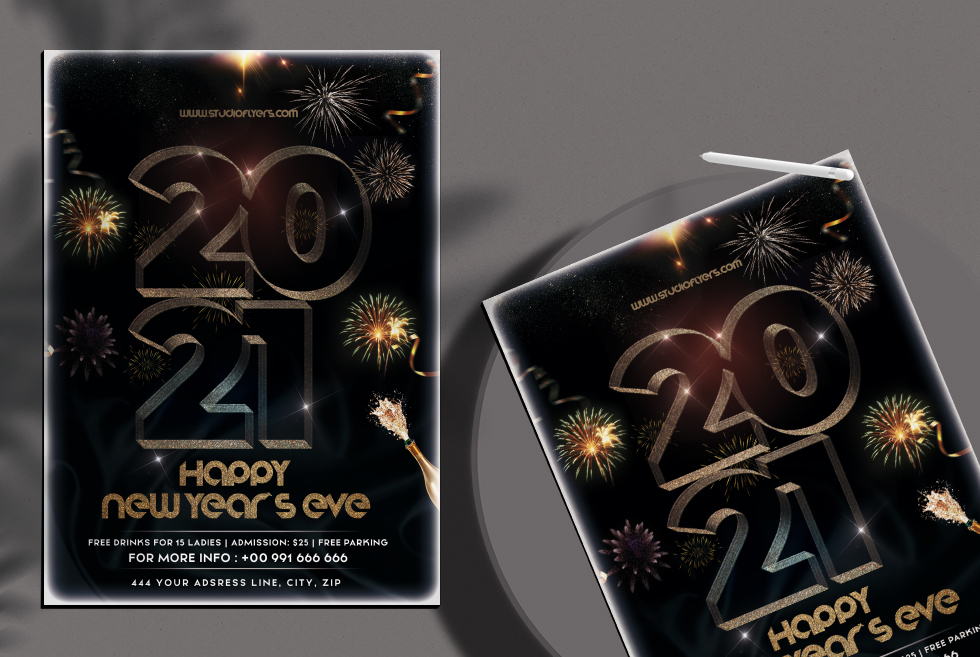 Happy New Year Eve 2021 Free PSD Flyer Template