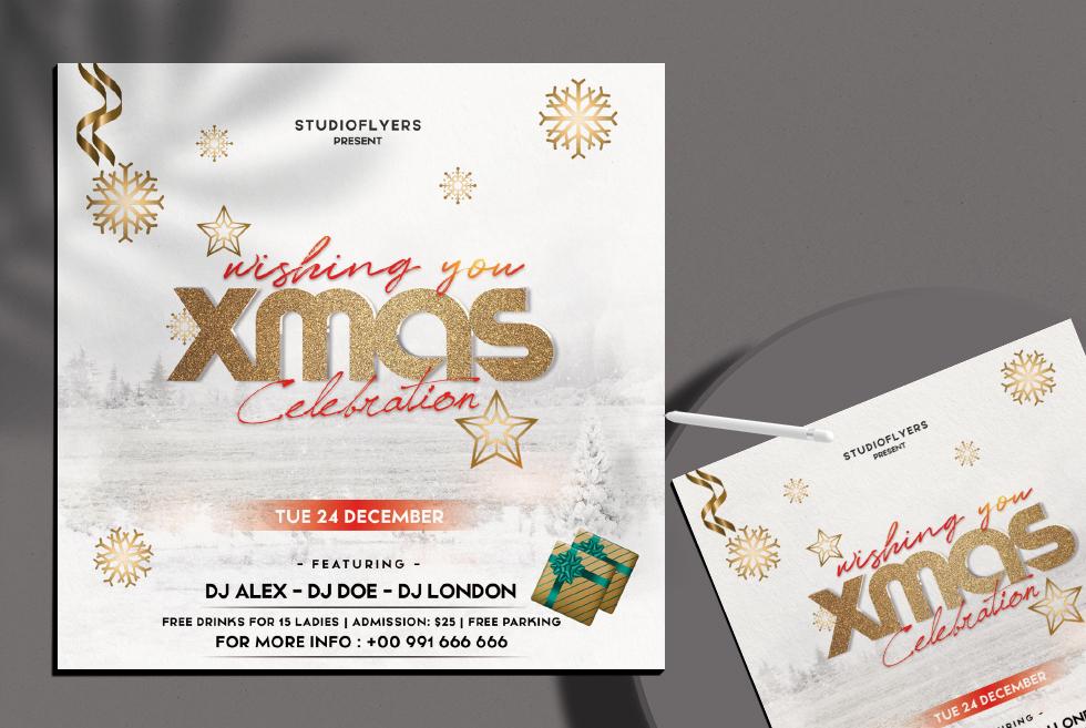 Xmas Celebration Flyer Free PSD Template