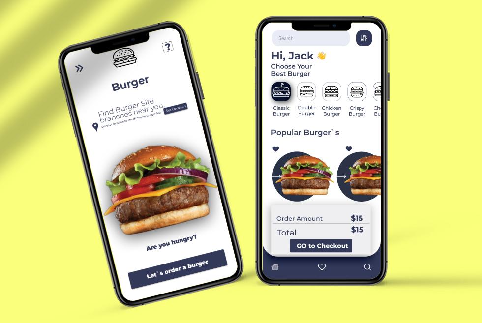 Burger Shop UI Kits UX Free PSD Template