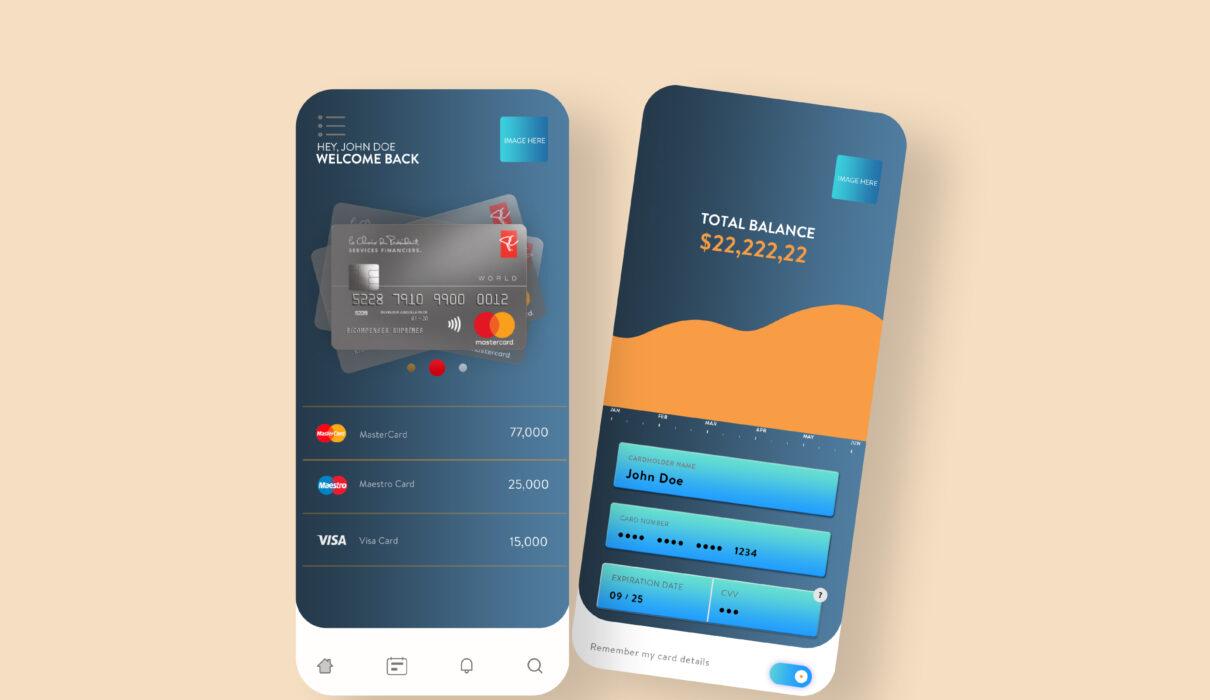Mobile Wallet App UI Design Free PSD Template